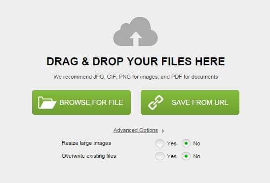 Drag images straight into the file manager