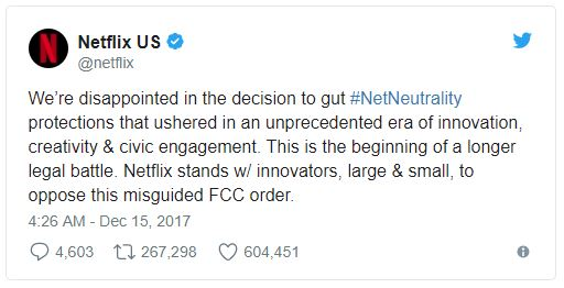 Netflix's Tweet on Net Neutrality