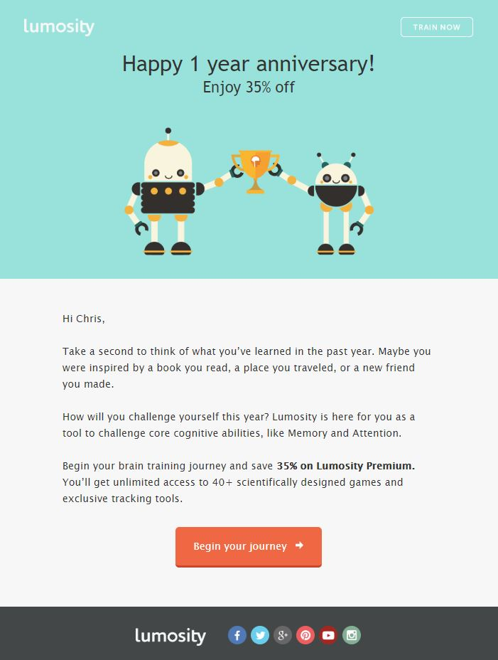 Anniversary Emails Example - lumosity
