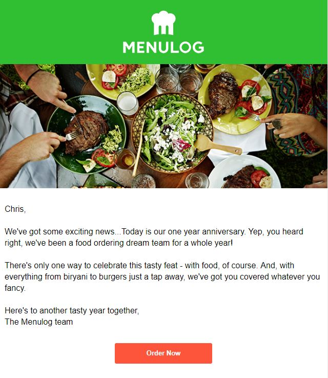 Anniversary emails example - Menulog