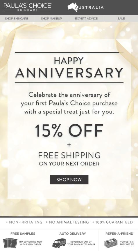 Anniversary Emails Example Paula's Choice