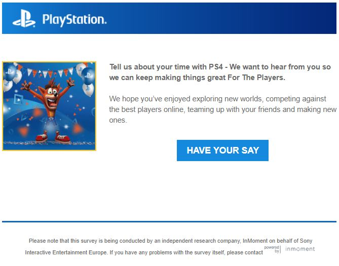 Anniversary Emails Example - PlayStation