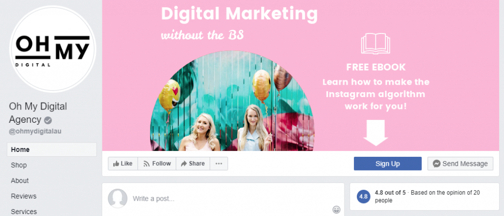 Generate Leads with Facebook CTA Button. Oh My Digital Example