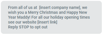 Example of Holiday SMS Marketing