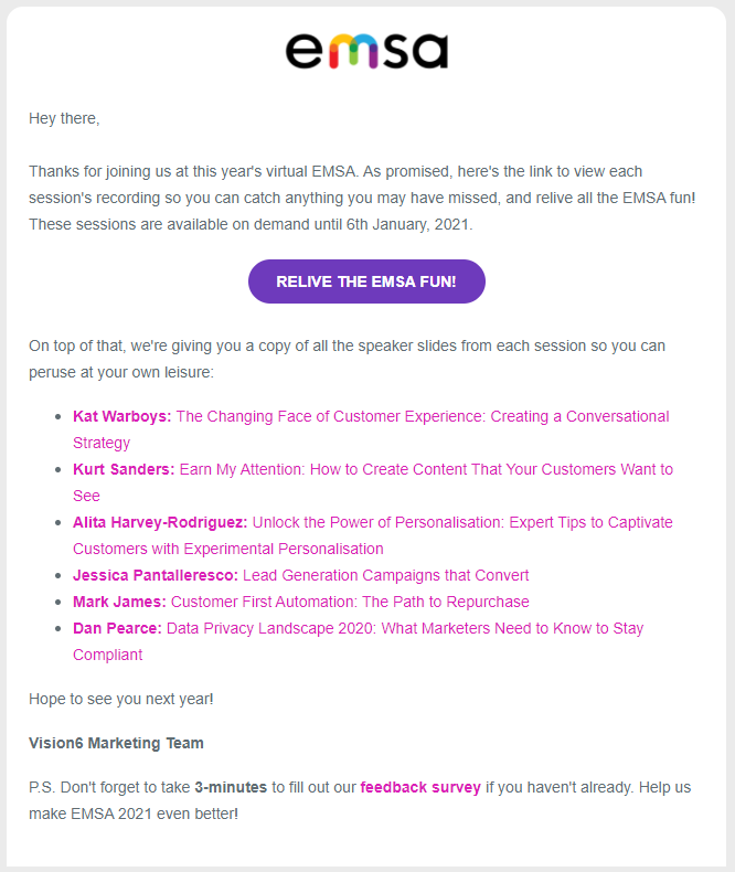 Post-event Marketing Email