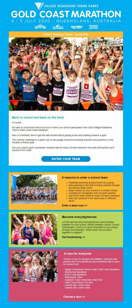 Announcement Email for the Gold Coast Marathon