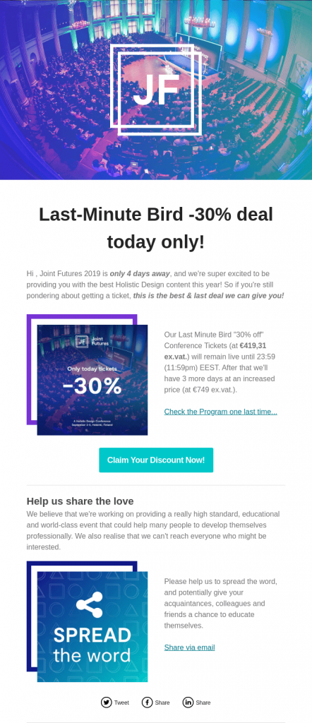 Early bird invite email for event conference