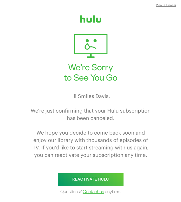 Automated unsubscribe email by Hulu
