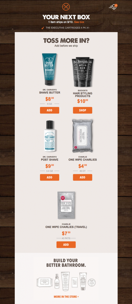 Transactional email by the Dollar Shave Club