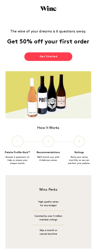 automated welcome email by Winc